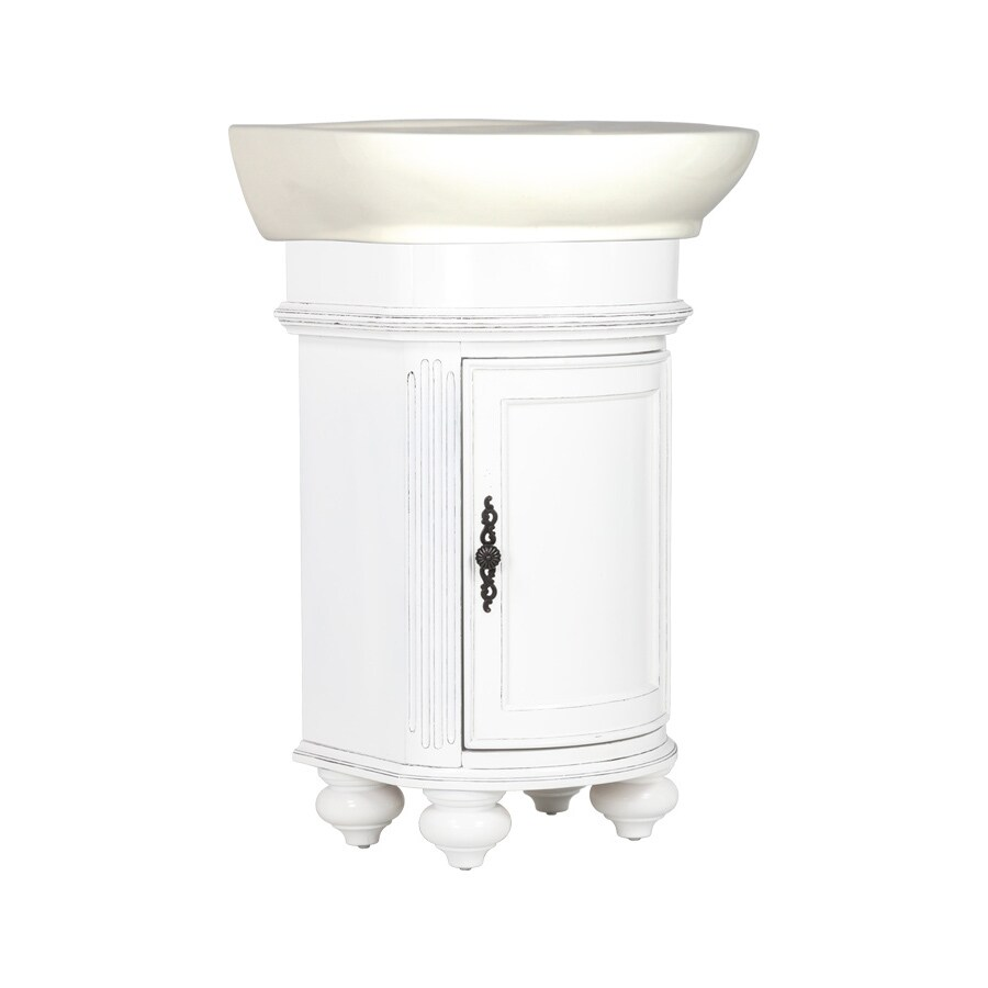 Westport Bay Keeneland Mahogany in Solid Swiss White 2018S (Common: 19-in x 24-in) Self-Rimming Single Sink Bathroom Vanity with Wood Top (Actual: 19-in x 22-in)