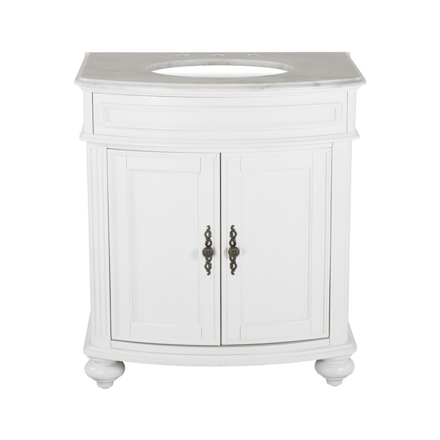 Westport Bay Keeneland Mahogany In Solid Swiss White 2018S (Common: 31-in x 24-in) Undermount Single Sink Bathroom Vanity with Natural Marble Top (Actual: 31-in x 26-in)