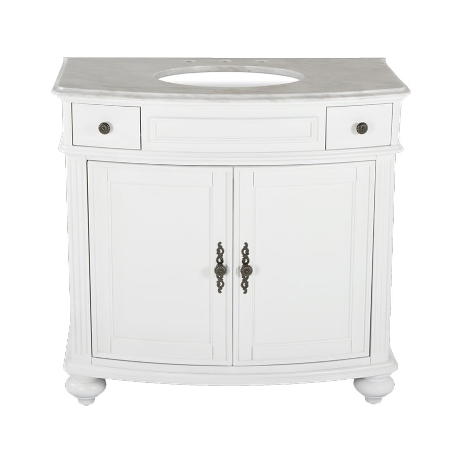 Westport Bay Keeneland Mahogany in Solid Swiss White 2018S (Common: 37-in x 24-in) Undermount Single Sink Bathroom Vanity with Natural Marble Top (Actual: 37-in x 26-in)
