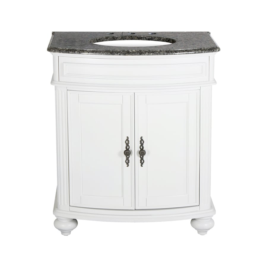 Westport Bay Keeneland Mahogany in Solid Swiss White 2018S (Common: 31-in x 24-in) Undermount Single Sink Bathroom Vanity with Granite Top (Actual: 31-in x 26-in)