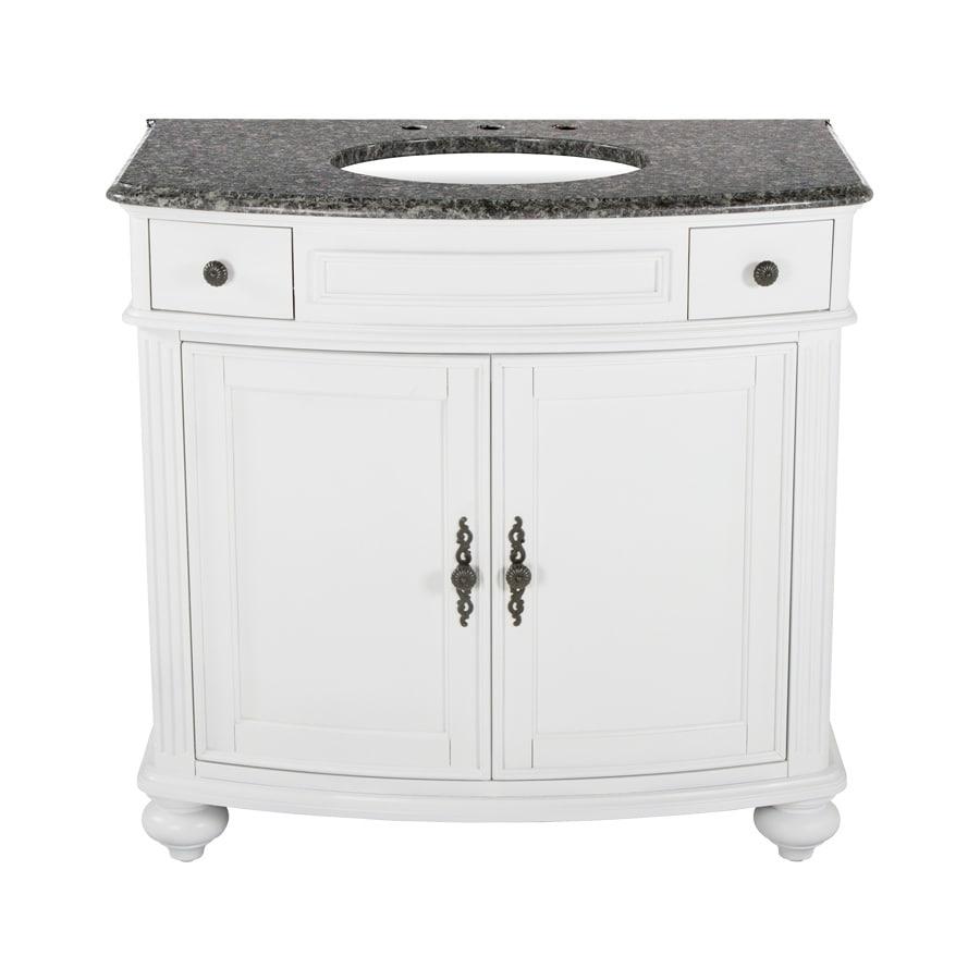 Westport Bay Keeneland Mahogany in Solid Swiss White 2018S (Common: 37-in x 24-in) Undermount Single Sink Bathroom Vanity with Granite Top (Actual: 37-in x 26-in)