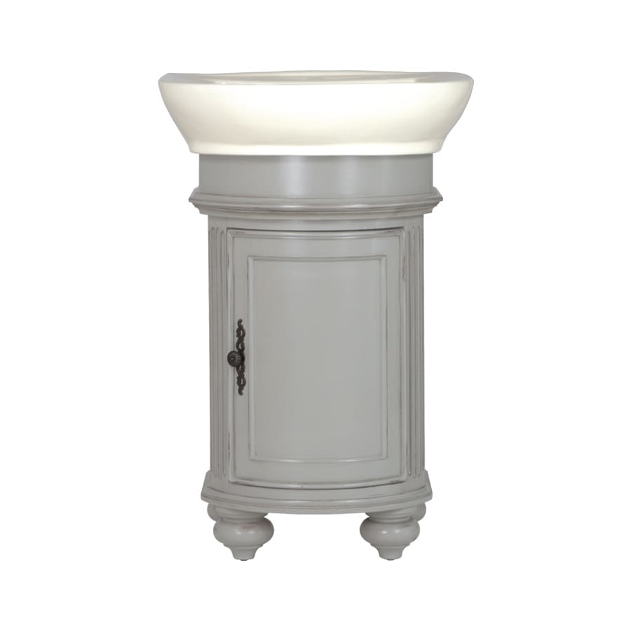 Westport Bay Keeneland Mahogany in Solid Dove Gray 4018S (Common: 19-in x 24-in) Self-Rimming Single Sink Bathroom Vanity with Wood Top (Actual: 19-in x 22-in)
