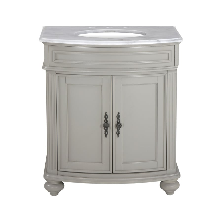 Westport Bay Keeneland Mahogany in Solid Dove Gray 4018S (Common: 31-in x 24-in) Undermount Single Sink Bathroom Vanity with Natural Marble Top (Actual: 31-in x 26-in)