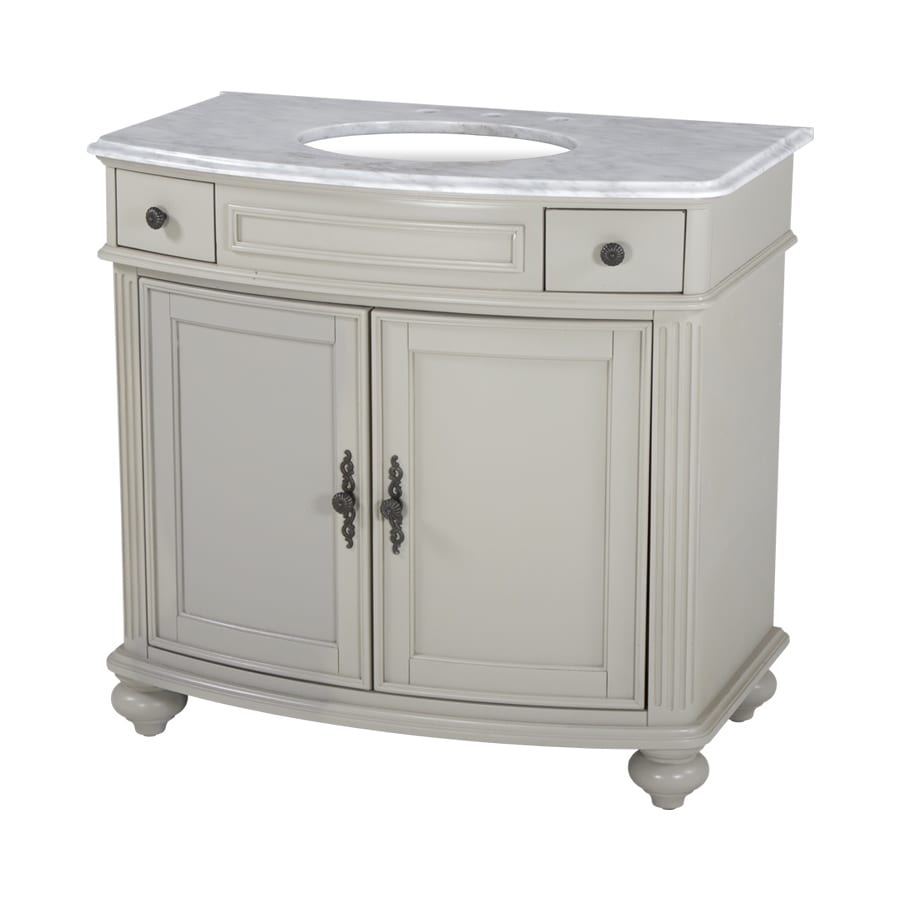 Westport Bay Keeneland Mahogany in Solid Dove Gray 4018S (Common: 37-in x 24-in) Undermount Single Sink Bathroom Vanity with Natural Marble Top (Actual: 37-in x 26-in)