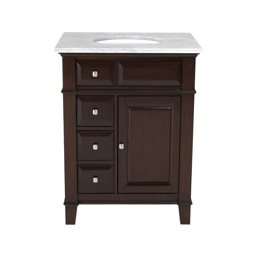 Westport Bay Martinsburg Mahogany in Espresso 1059S (Common: 25-in x 22-in) Undermount Single Sink Bathroom Vanity with Natural Marble Top (Actual: 25-in x 22-in)