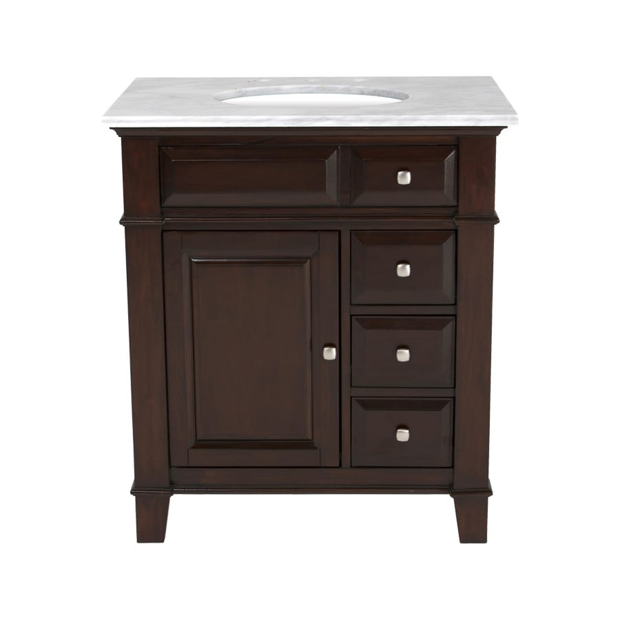 Westport Bay Martinsburg Mahogany in Espresso 1059S Undermount Single Sink Bathroom Vanity with Natural Marble Top (Common: 31-in x 22-in; Actual: 31-in x 22-in)
