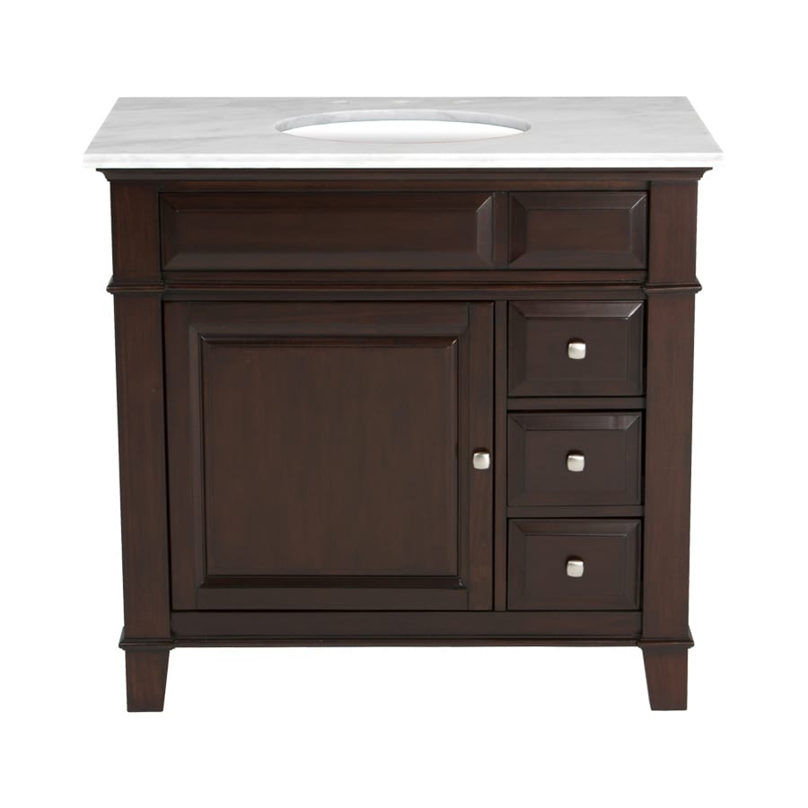 Westport Bay Martinsburg Mahogany in Espresso 1059S Undermount Single Sink Bathroom Vanity with Natural Marble Top (Common: 37-in x 22-in; Actual: 37-in x 22-in)
