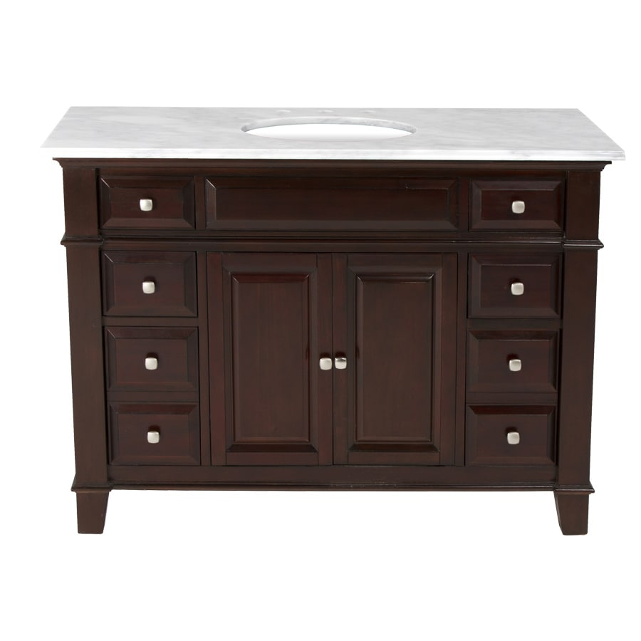 Westport Bay Martinsburg Mahogany in Espresso 1059S (Common: 49-in x 22-in) Undermount Single Sink Bathroom Vanity with Natural Marble Top (Actual: 49-in x 22-in)