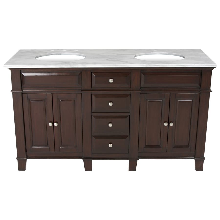 Westport Bay Martinsburg Mahogany in Espresso 1059S Undermount Double Sink Bathroom Vanity with Natural Marble Top (Common: 61-in x 22-in; Actual: 61-in x 22-in)