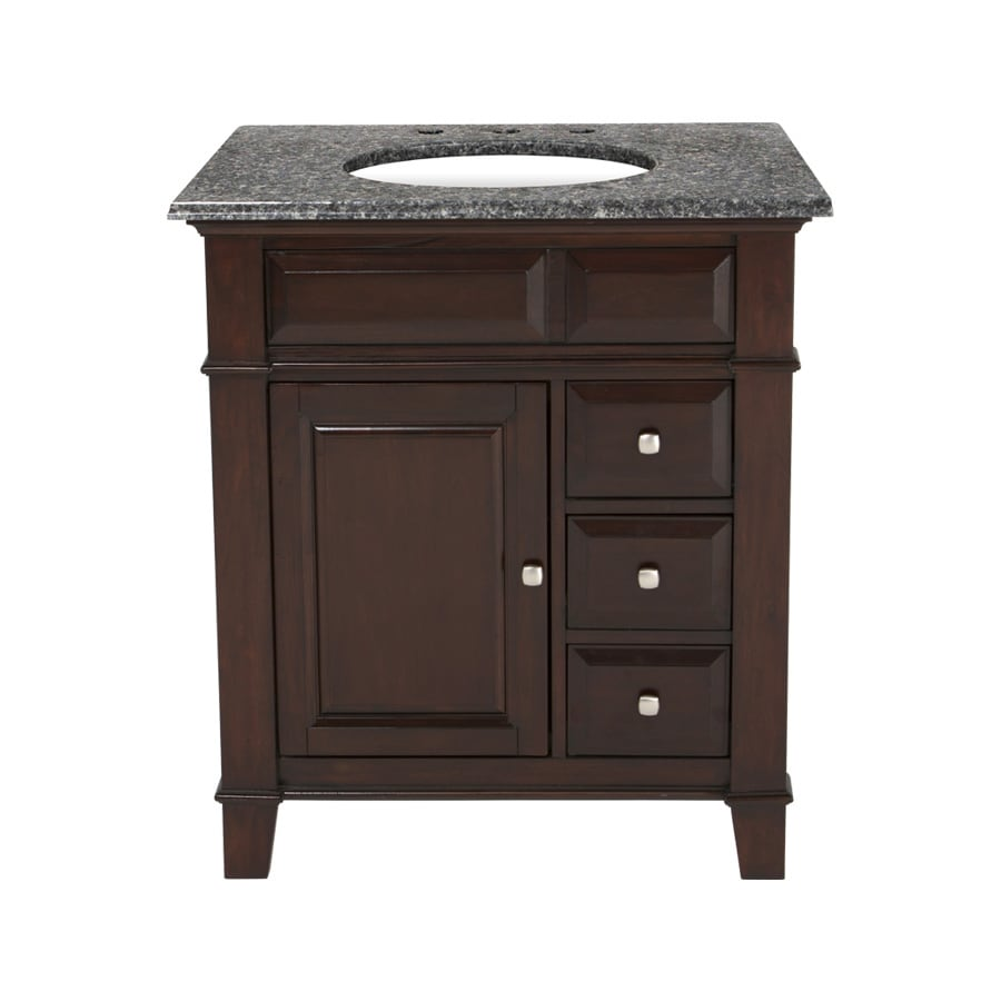 Westport Bay Martinsburg Mahogany in Espresso 1059S (Common: 31-in x 22-in) Undermount Single Sink Bathroom Vanity with Granite Top (Actual: 31-in x 22-in)
