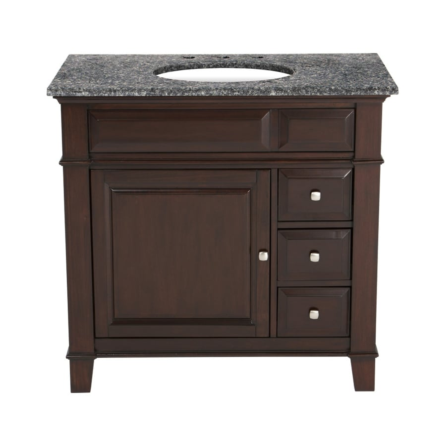 Westport Bay Martinsburg Mahogany in Espresso 1059S (Common: 37-in x 22-in) Undermount Single Sink Bathroom Vanity with Granite Top (Actual: 37-in x 22-in)