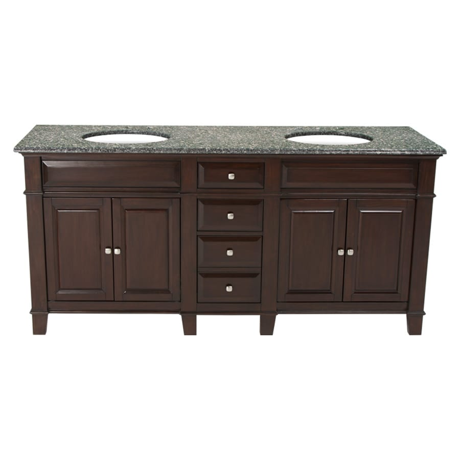 Westport Bay Martinsburg Mahogany in Espresso 1059S (Common: 73-in x 22-in) Undermount Double Sink Bathroom Vanity with Granite Top (Actual: 73-in x 22-in)