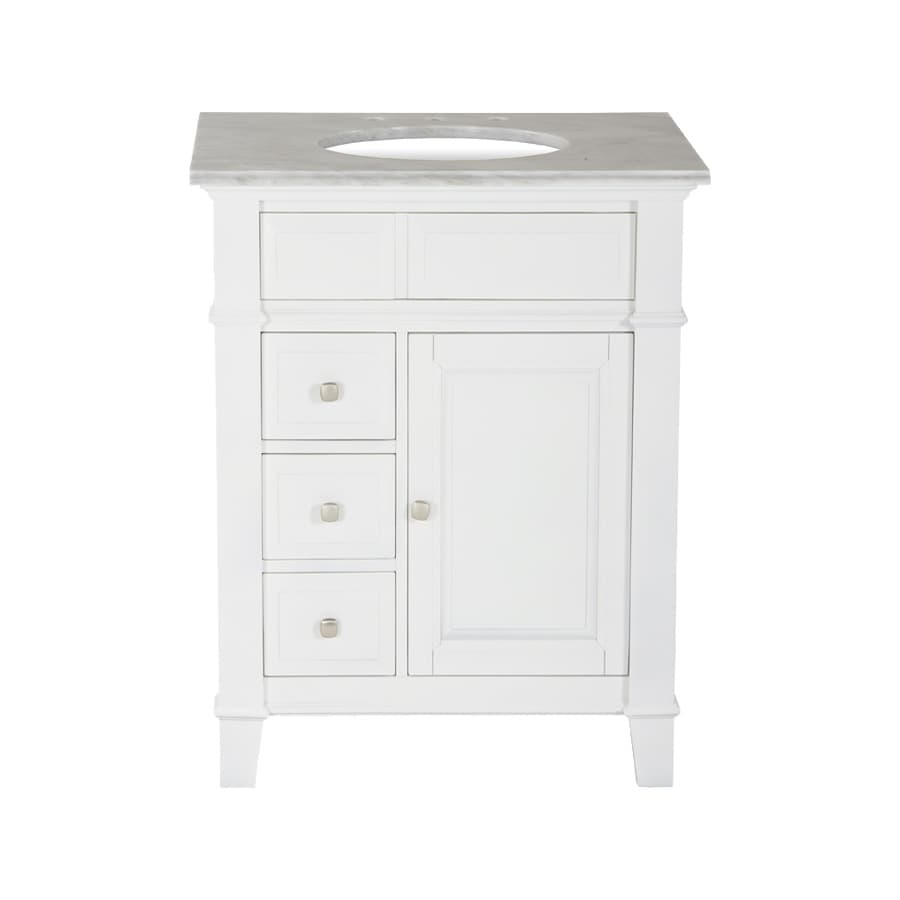 Westport Bay Martinsburg Mahogany in Solid Swiss White 2018S (Common: 25-in x 22-in) Undermount Single Sink Bathroom Vanity with Natural Marble Top (Actual: 25-in x 22-in)