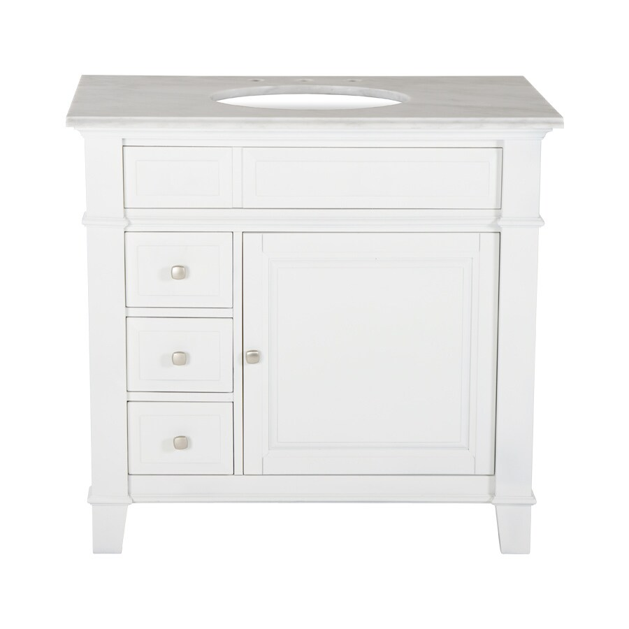 Westport Bay Martinsburg Mahogany In Solid Swiss White 2018S (Common: 37-in x 22-in) Undermount Single Sink Bathroom Vanity with Granite Top (Actual: 37-in x 22-in)