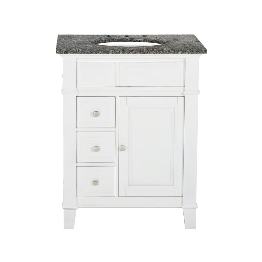Westport Bay Martinsburg Mahogany in Solid Swiss White 2018S (Common: 25-in x 22-in) Undermount Single Sink Bathroom Vanity with Granite Top (Actual: 25-in x 22-in)