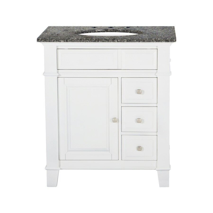 Westport Bay Martinsburg Mahogany in Solid Swiss White 2018S (Common: 31-in x 22-in) Undermount Single Sink Bathroom Vanity with Granite Top (Actual: 31-in x 22-in)