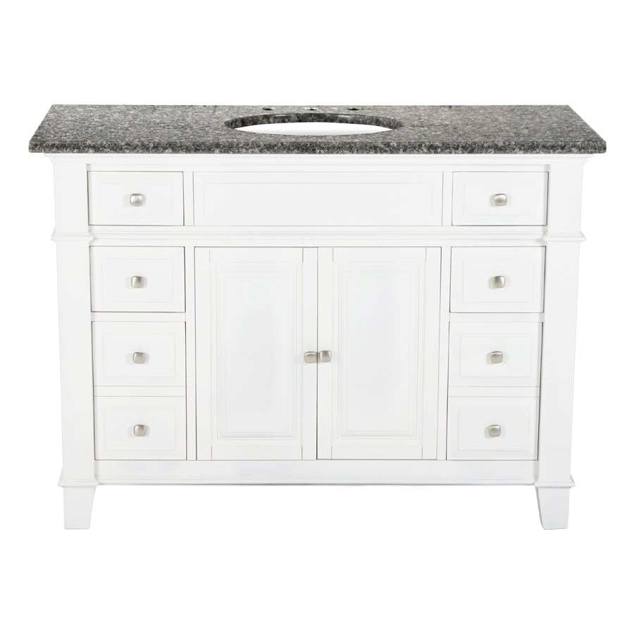 Westport Bay Martinsburg Mahogany In Solid Swiss White 2018S 49-in Undermount Single Sink Bathroom Vanity with Granite Top