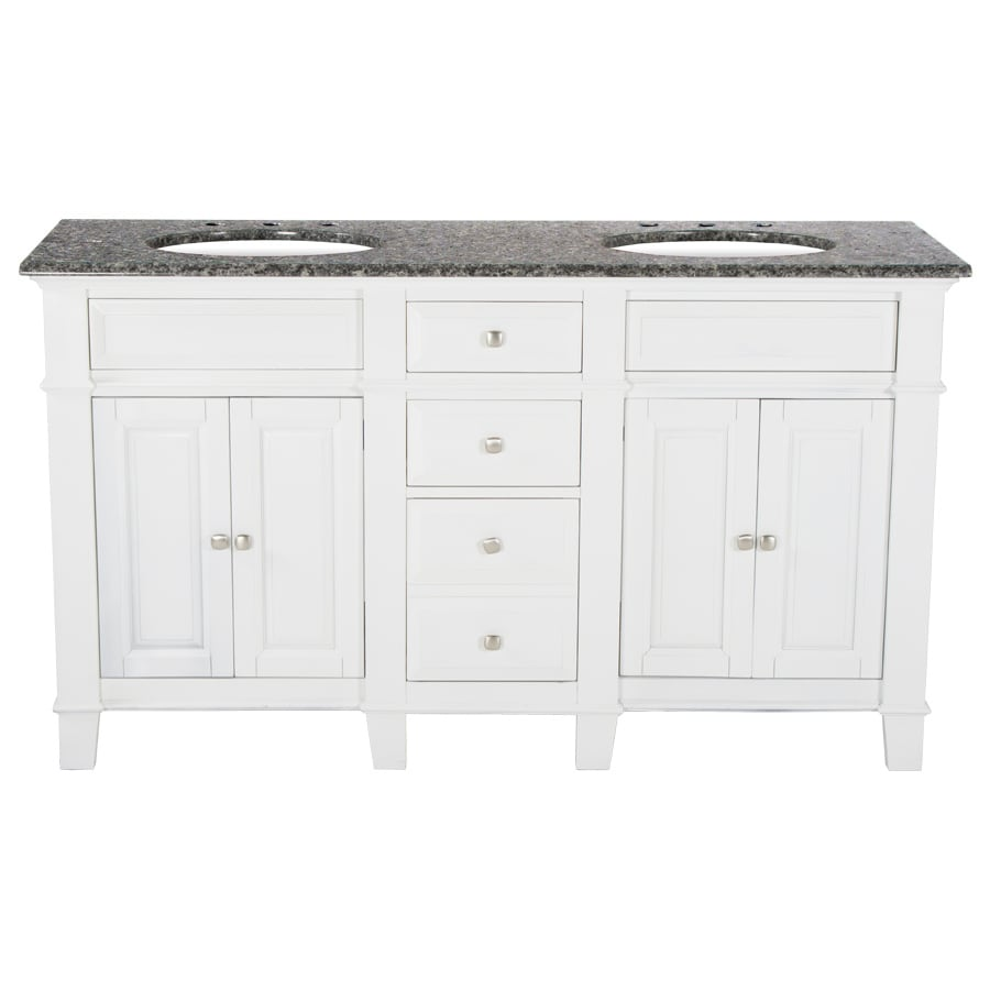 Westport Bay Martinsburg Mahogany in Solid Swiss White 2018S (Common: 61-in x 22-in) Undermount Double Sink Bathroom Vanity with Granite Top (Actual: 61-in x 22-in)