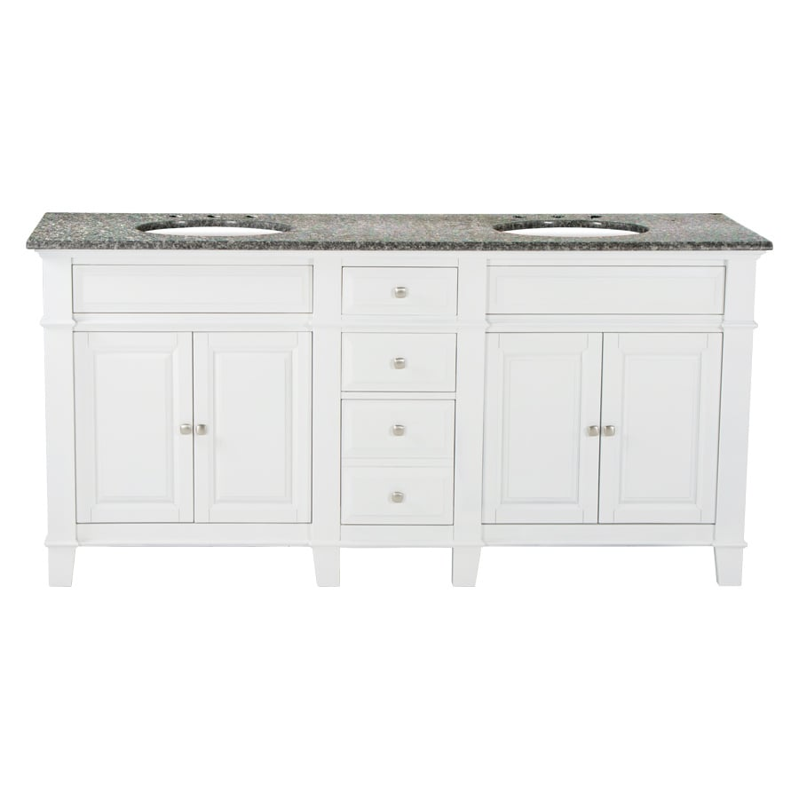 Westport Bay Martinsburg Mahogany in Solid Swiss White 2018S (Common: 73-in x 22-in) Undermount Double Sink Bathroom Vanity with Granite Top (Actual: 73-in x 22-in)