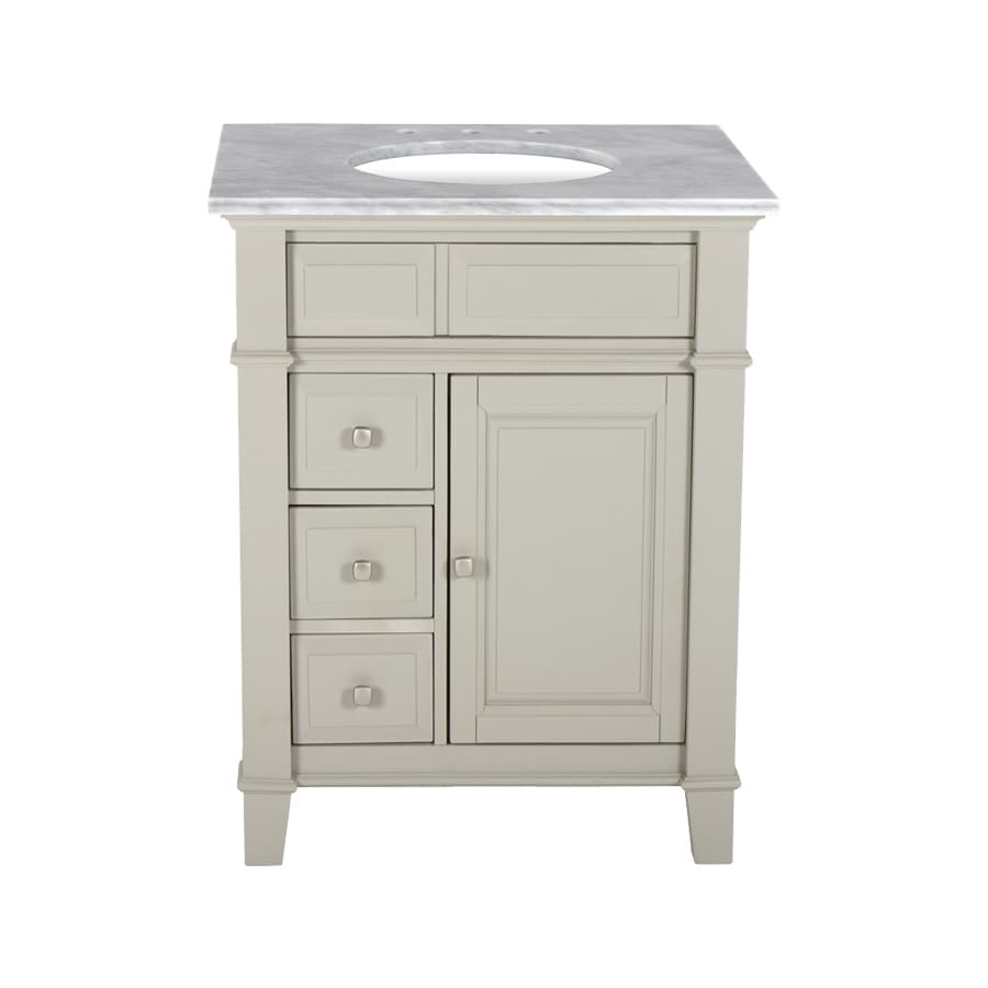 Westport Bay Martinsburg Mahogany in Solid Dove Gray 4018S (Common: 25-in x 22-in) Undermount Single Sink Bathroom Vanity with Natural Marble Top (Actual: 25-in x 22-in)