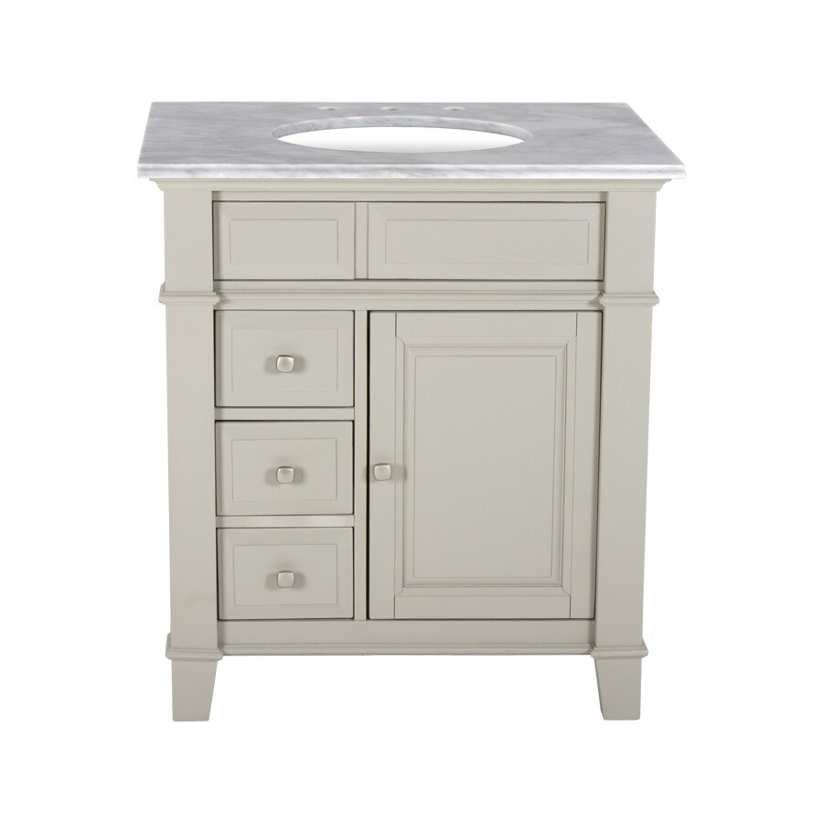 Westport Bay Martinsburg Undermount Single Sink Bathroom Vanity with Natural Marble Top (Common: 31-in x 22-in; Actual: 31-in x 22-in)