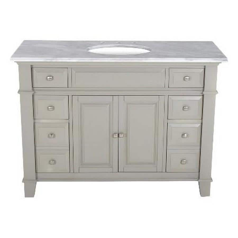 Westport Bay Martinsburg Mahogany in Solid Dove Gray 4018S (Common: 49-in x 22-in) Undermount Single Sink Bathroom Vanity with Natural Marble Top (Actual: 49-in x 22-in)