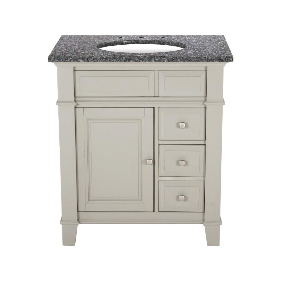 Westport Bay Martinsburg Mahogany in Solid Dove Gray 4018S (Common: 31-in x 22-in) Undermount Single Sink Bathroom Vanity with Granite Top (Actual: 31-in x 22-in)