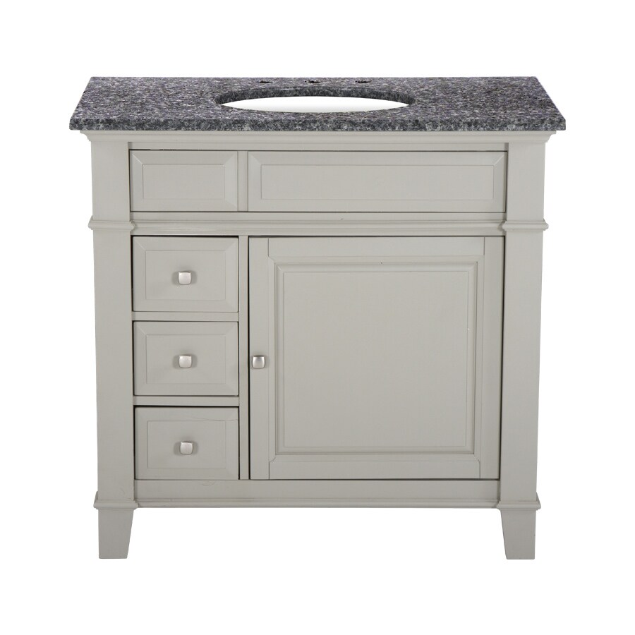 Westport Bay Martinsburg Mahogany in Solid Dove Gray 4018S (Common: 37-in x 22-in) Undermount Single Sink Bathroom Vanity with Granite Top (Actual: 37-in x 22-in)