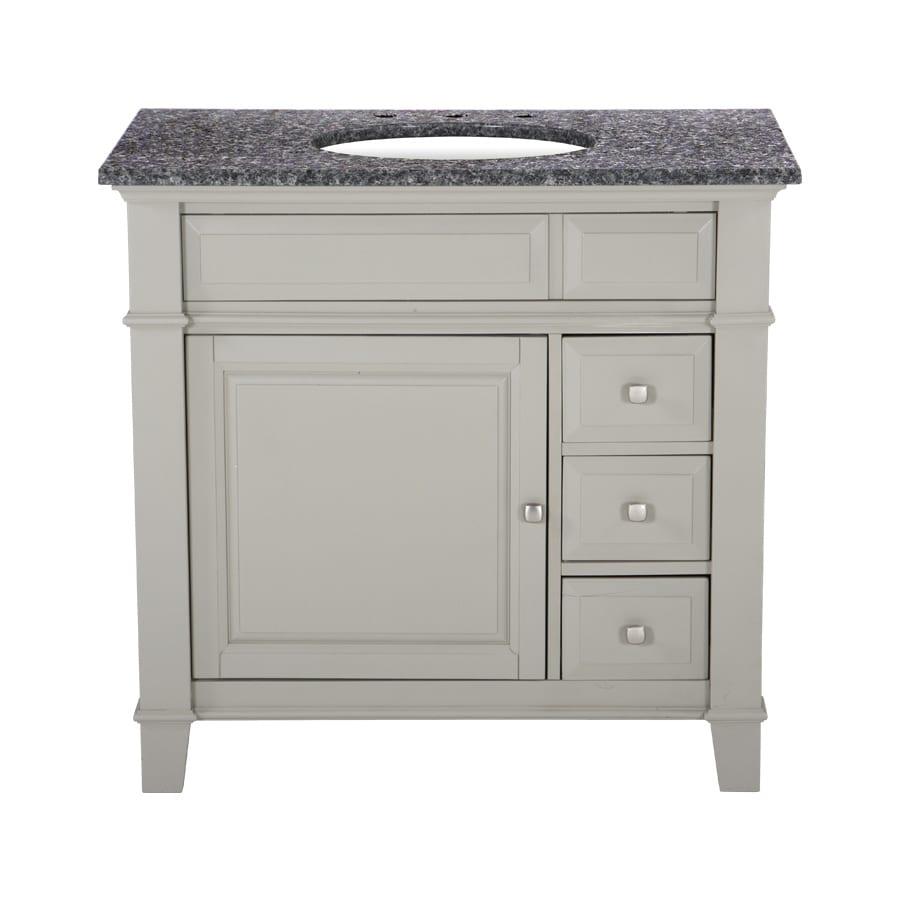 Westport Bay Martinsburg Mahogany in Solid Dove Gray 4018S (Common: 37-in x 22-in) Undermount Single Sink Bathroom Vanity with Granite Top (Actual: 37-in x 22-in)