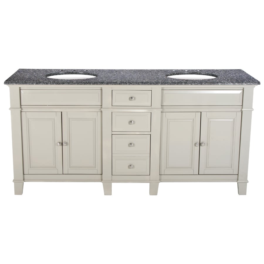 Westport Bay Martinsburg Mahogany in Solid Dove Gray 4018S (Common: 73-in x 22-in) Undermount Double Sink Bathroom Vanity with Granite Top (Actual: 73-in x 22-in)
