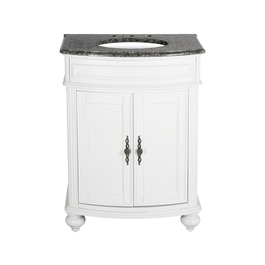 Westport Bay Keeneland Mahogany In Solid Swiss White 2018S (Common: 25-in x 22-in) Undermount Single Sink Bathroom Vanity with Granite Top (Actual: 25-in x 22-in)
