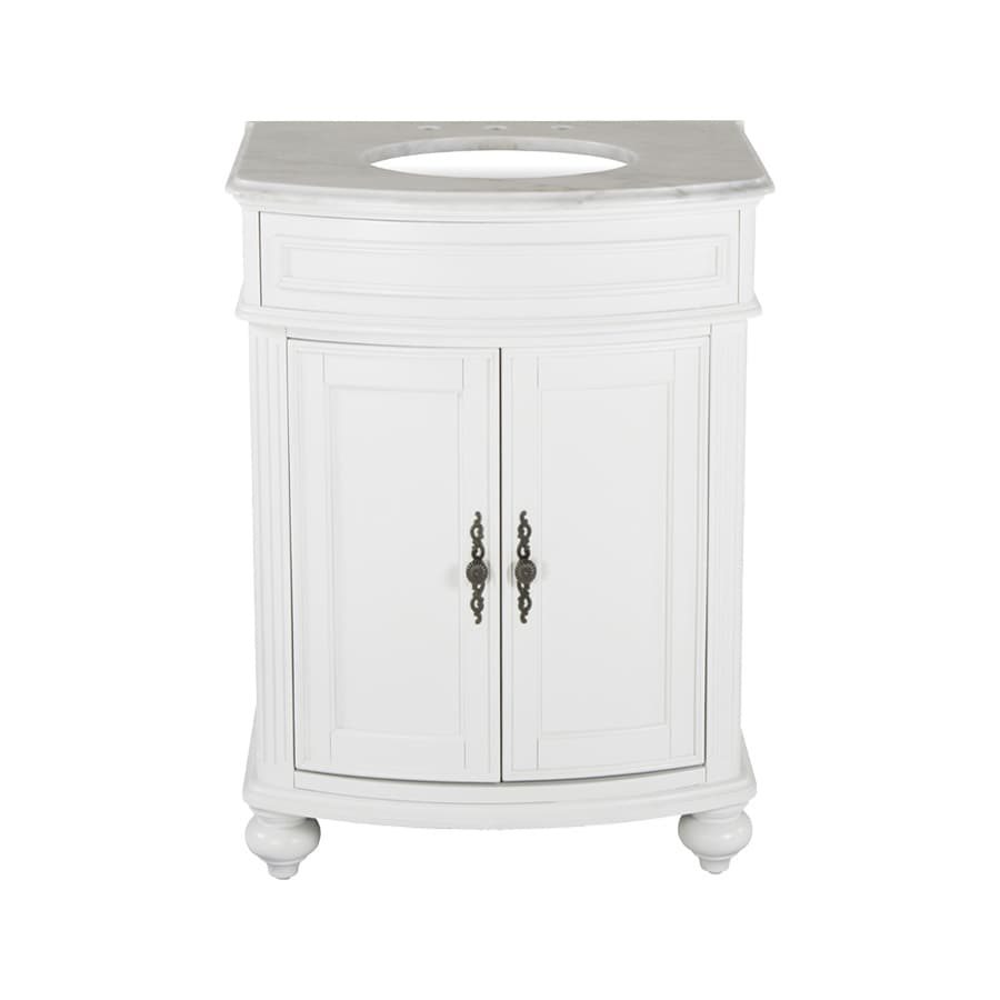 Westport Bay Keeneland Mahogany in Solid Swiss White 2018S (Common: 25-in x 22-in) Undermount Single Sink Bathroom Vanity with Natural Marble Top (Actual: 25-in x 22-in)