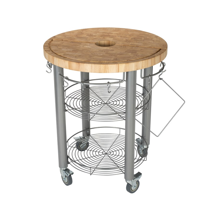 Chris & Chris 30-in L x 30-in W x 36-in H Natural Kitchen Island Casters