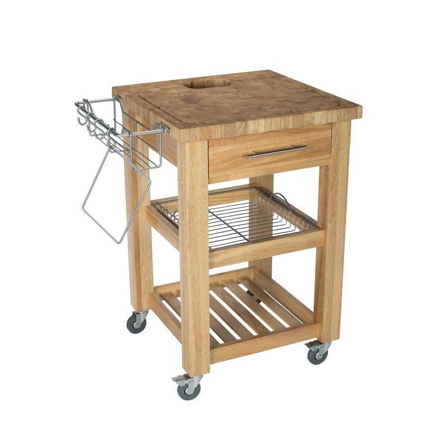 Chris & Chris 24-in L x 24-in W x 35.5-in H Natural Kitchen Island Casters