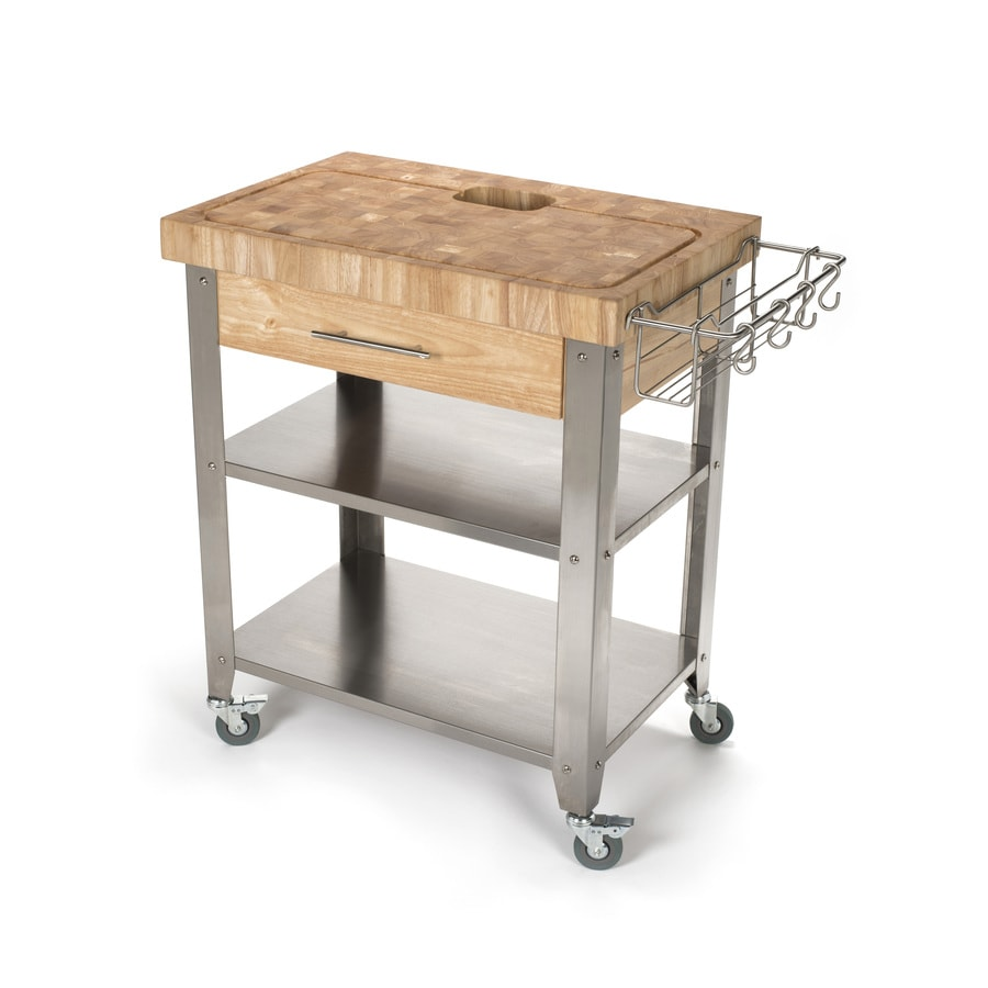 Chris & Chris 20-in L x 30-in W x 36-in H Natural Kitchen Island Casters