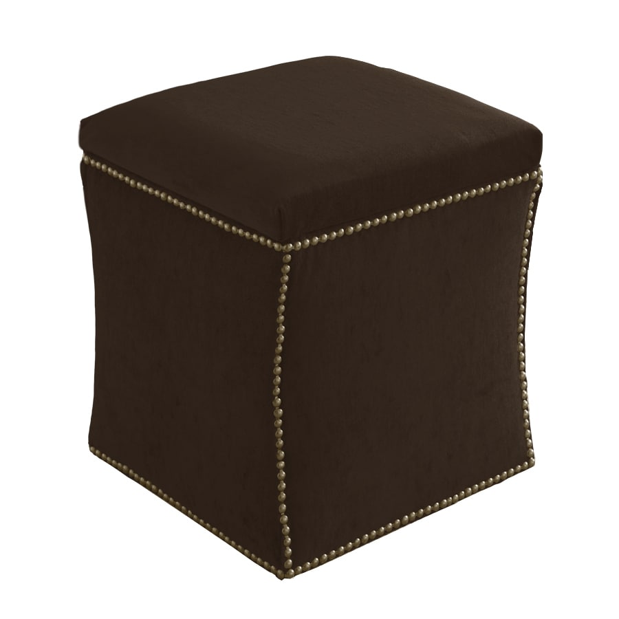 Skyline Furniture Armitage Collection Chocolate Velvet Ottoman