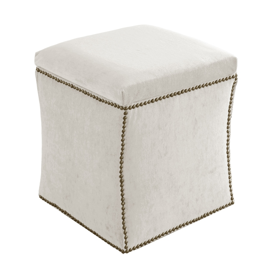 Skyline Furniture Armitage Collection White Velvet Ottoman