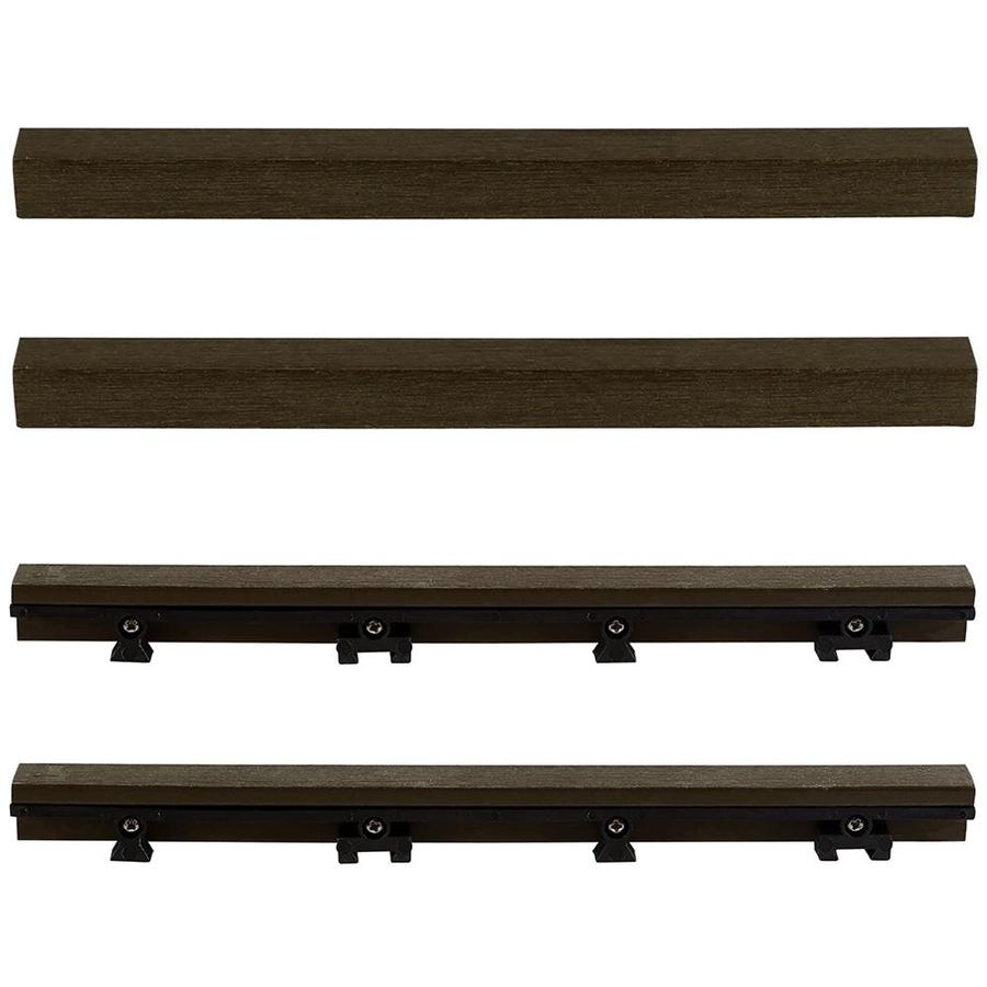 NewTechWood 1/6 ft. x 1 ft. Quick Deck Composite Deck Tile Straight Fascia in Spanish Walnut (4-Piece/Box)