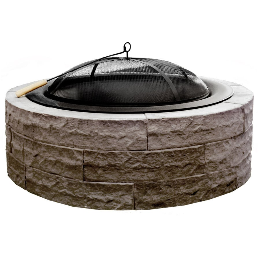 Four Seasons Outdoor Product 42 In W Tan Stone Wood Burning Fire Pit