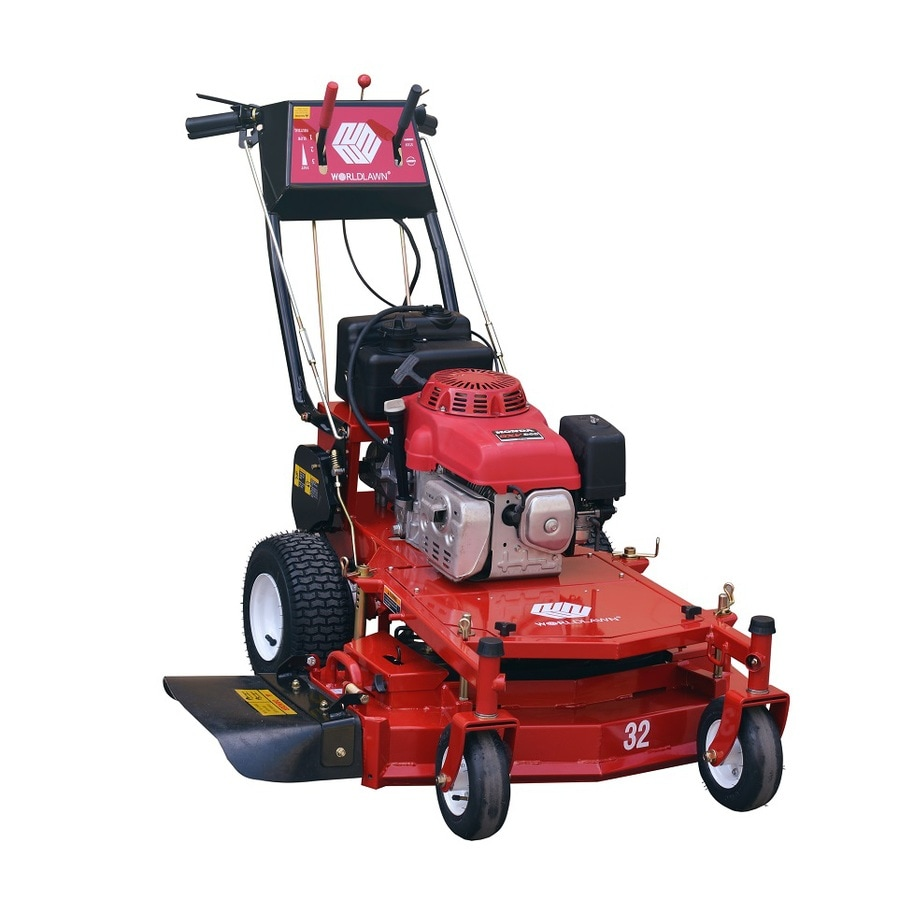 Worldlawn 337-cu cm 32-in Key Start Self-propelled Rear Wheel Drive Commercial/ Gas Lawn Mower with Mulching Capability