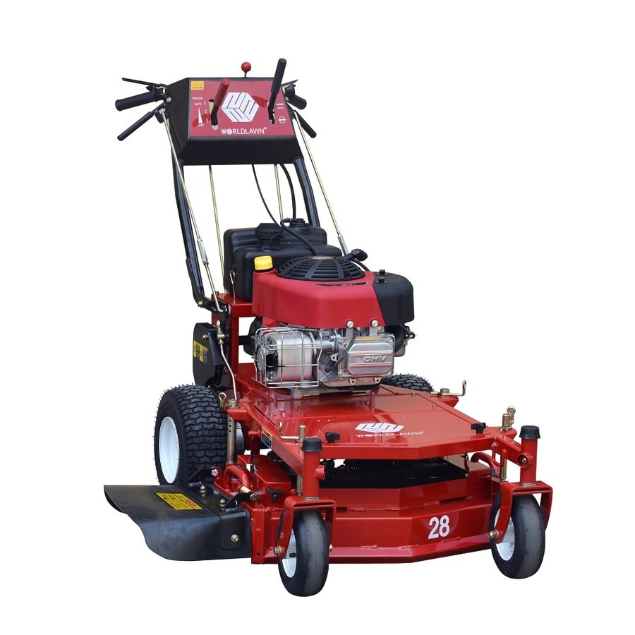 Worldlawn 344cc 28-in Key Start Self-Propelled Rear Wheel Drive Gas Lawn Mower with Mulching Capability