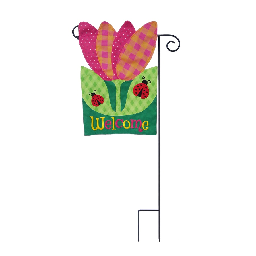 1-ft W x 1.5-ft H Floral Embroidered Garden Flag
