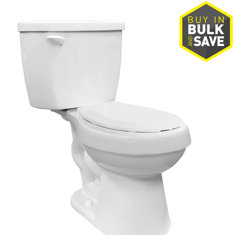 Project Source 1.28-GPF (4.85-LPF) White Round 2-piece Toilet