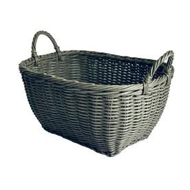 allen + roth 19.7-in W x 9.5-in H x 15.8-in D Gray Plastic Stackable Basket