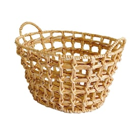 allen + roth 18.1-in W x 9.8-in H x 14.2-in D Natural Water Hyacinth Collapsible Stackable Basket