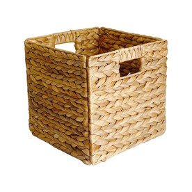 allen + roth 10.6-in W x 10.6-in H x 10.6-in D Natural Water Hyacinth Stackable Basket