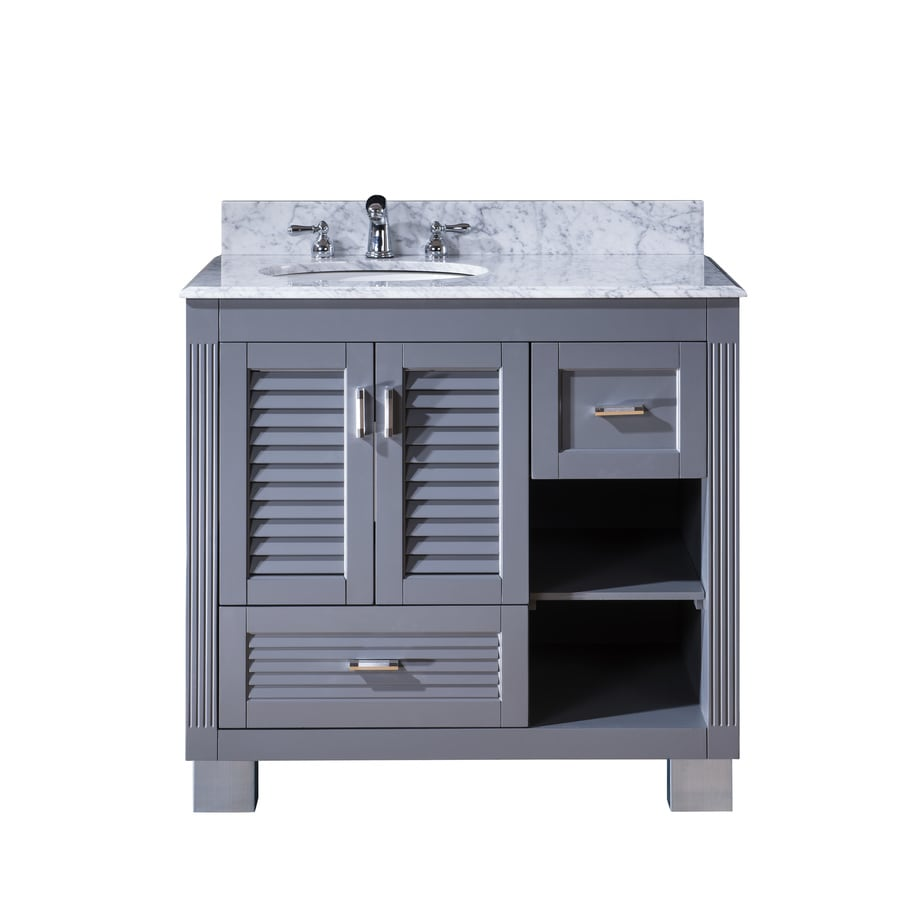 Venus Grey (Common: 36-in x 21-in) Undermount Single Sink Oak Bathroom Vanity with Natural Marble Top (Actual: 37-in x 22-in)