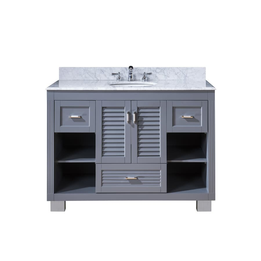 Venus Grey (Common: 48-in x 21-in) Undermount Single Sink Oak Bathroom Vanity with Natural Marble Top (Actual: 49-in x 22-in)