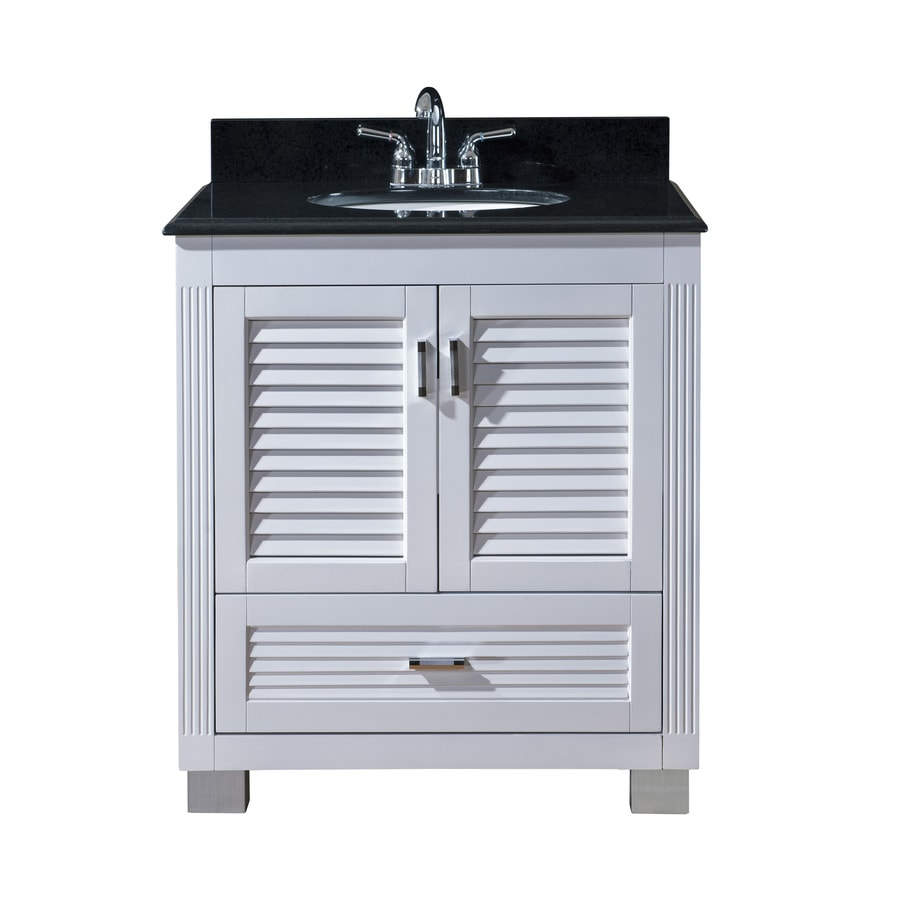 Venus White Undermount Single Sink Bathroom Vanity With Granite Top  (Common: 30 In