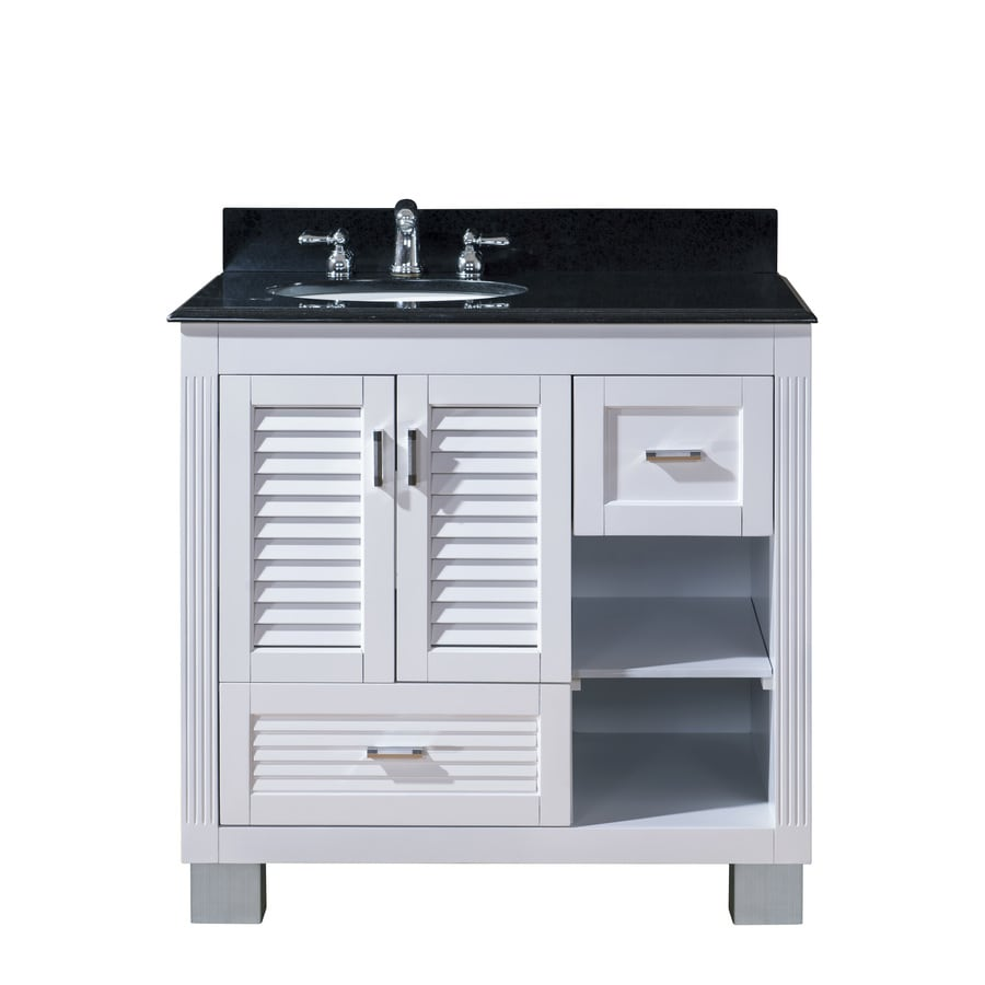 Venus White (Common: 36-in x 21-in) Undermount Single Sink Oak Bathroom Vanity with Granite Top (Actual: 37-in X